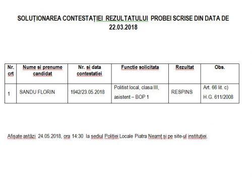 SOLUȚIONAREA CONTESTAȚIEI  REZULTATULUI  PROBEI SCRISE DIN DATA DE 22.03.2018