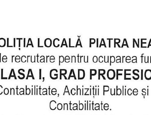 Concurs recrutare Consilier Clasa I asistent